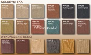 Wybór kolorów kompozytu drewna